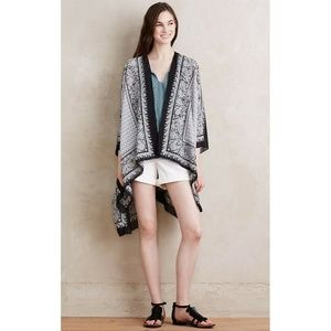 New Anthropologie Meena Paisley Kimono Black